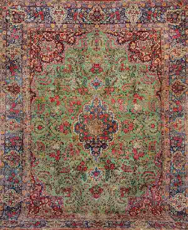 Green Grounded US Kirman-Lawar Carpet,