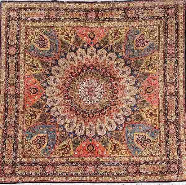 Tabriz (50 RAJ) 'Square Rug' (Part-Silk),