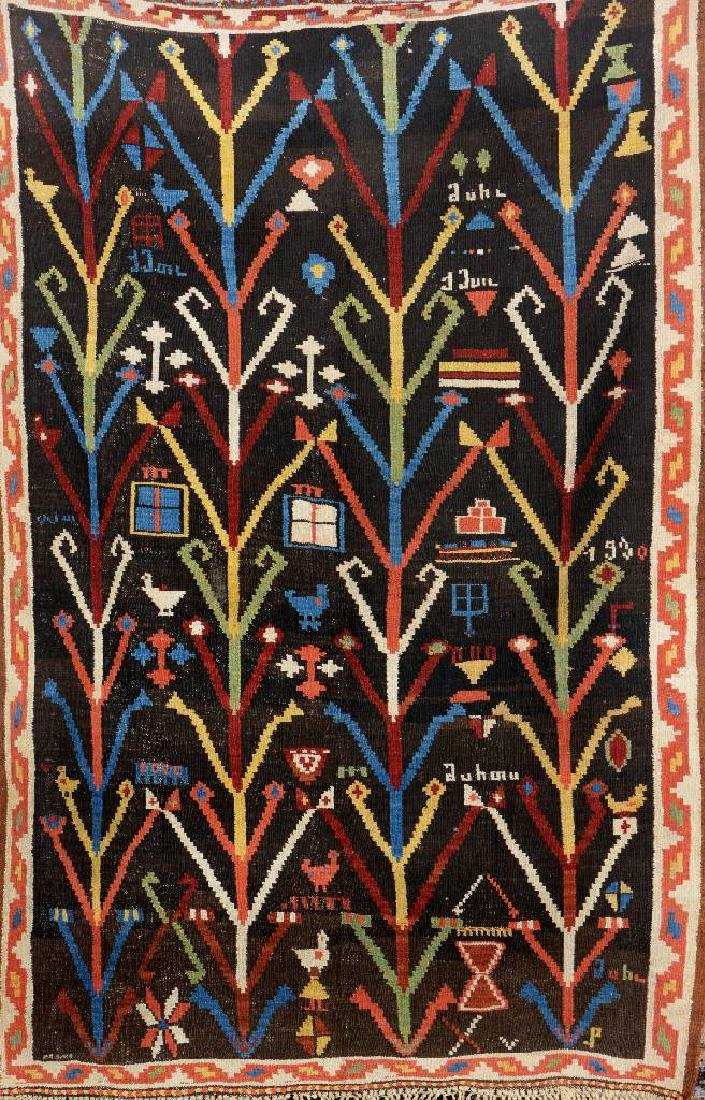 Rare Persian 'Tree Kilim' (Dated),