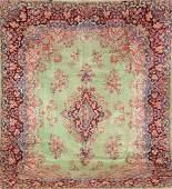 Green Grounded Kirman Carpet,