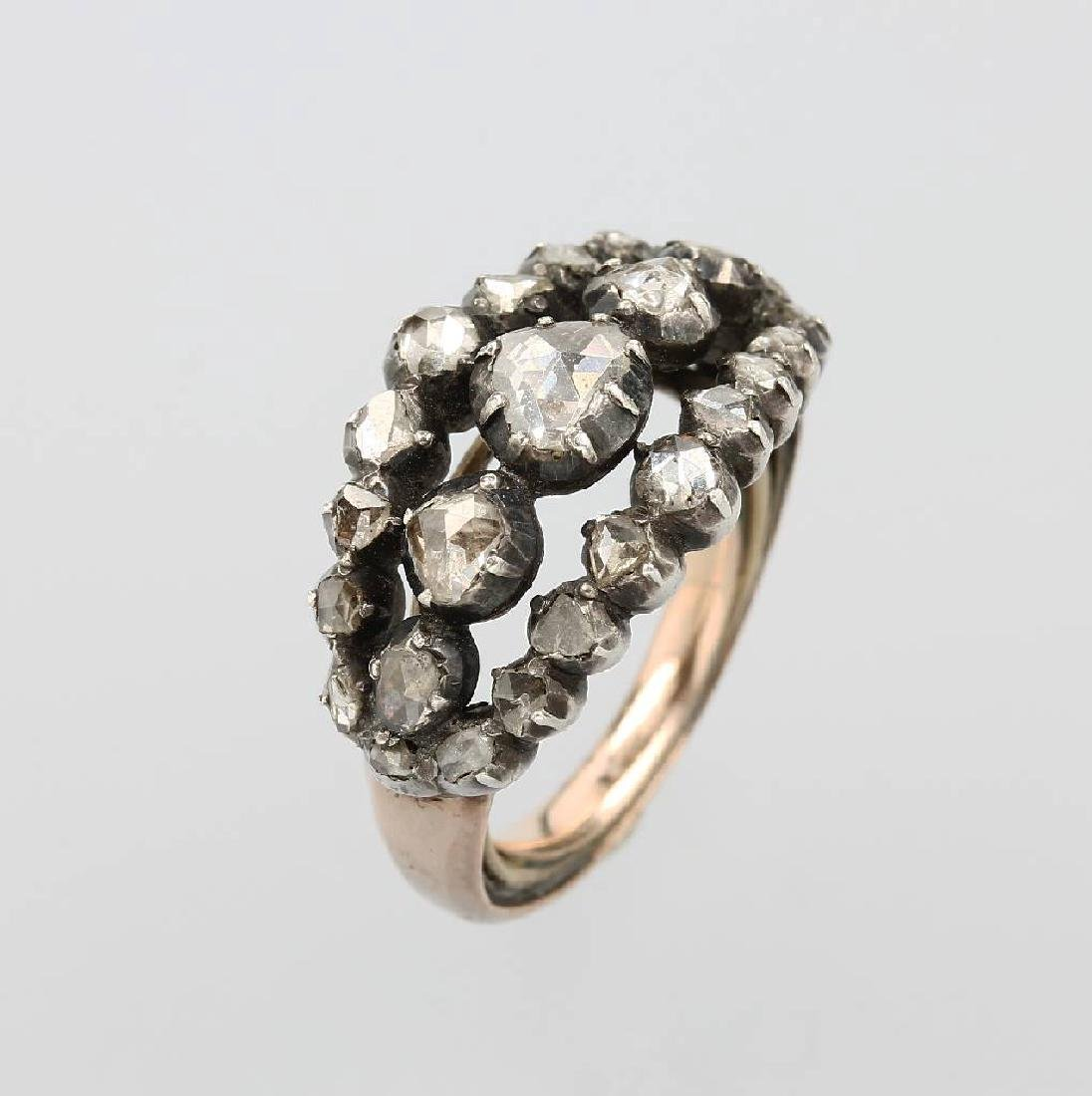 Ring with diamond roses, YG and silver