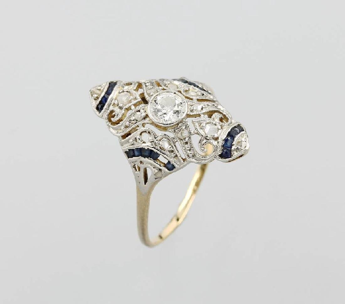 Art-Deco Ring with diamonds and sapphires, YG 750/000