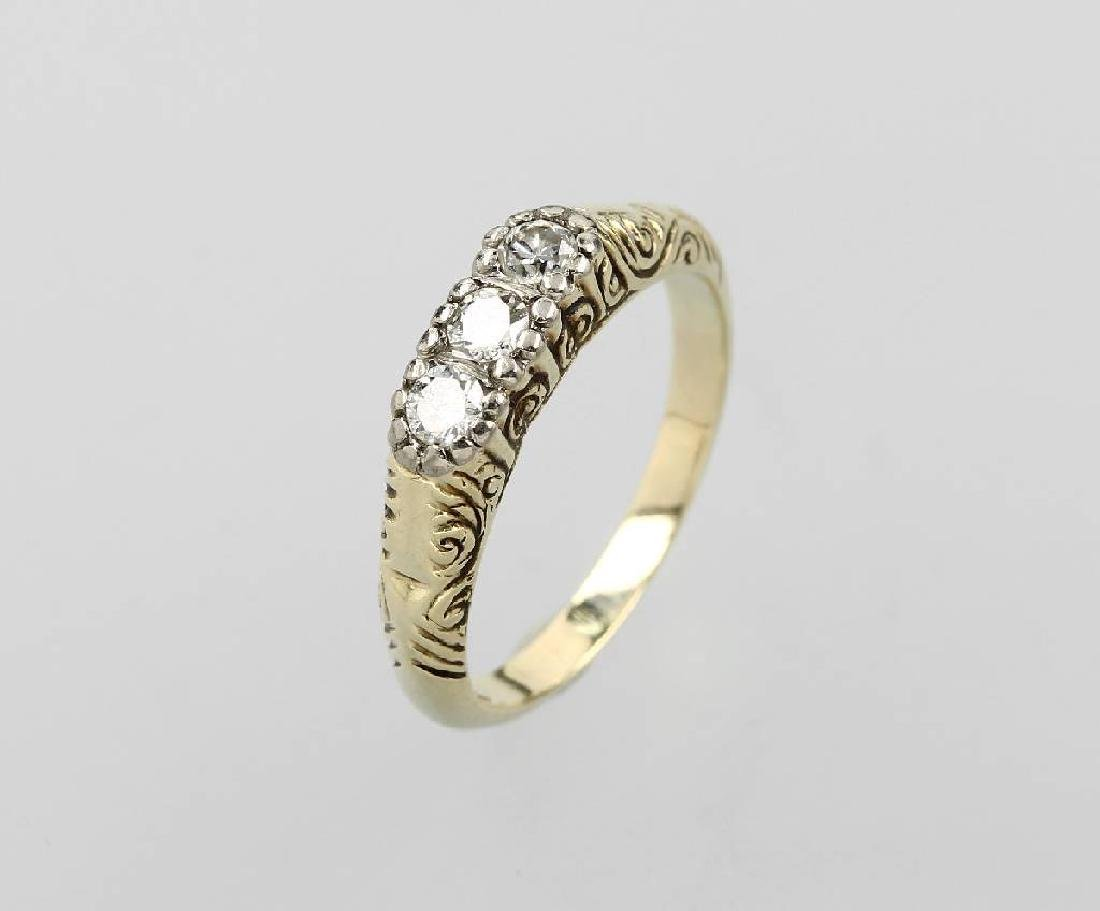 14 kt gold Art-Deco ring with brilliants