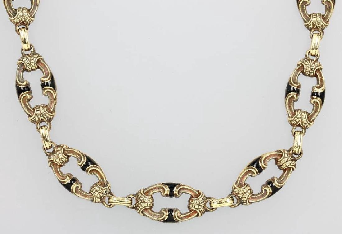 14 kt gold necklace with enamel