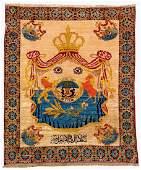 Silk Iraqi 'Coat Of Arms Rug' Of The Kingdom Of Iraq,