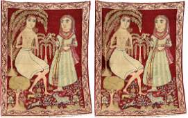 A Pair Of KirmanRavar Pictorial Rugs Layla