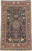 Fine 'Part-Silk' Isfahan 'Rug' (Animal- Medallion