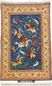 Unusual Blue Ground Fine 'Part-Silk' Isfahan 'Hossein