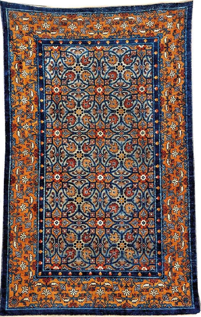 Important Early Silk & Gold-Metal-Thread Khotan 'Palace