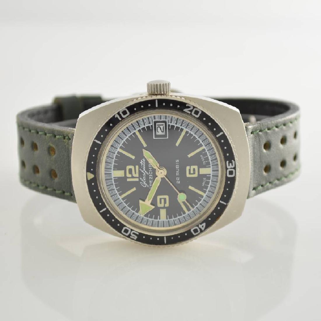GLASHUTTE rare steel gents wristwatch Spezichron