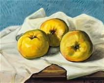 Werner Brand, born 1933, apples, oil/plate, signed