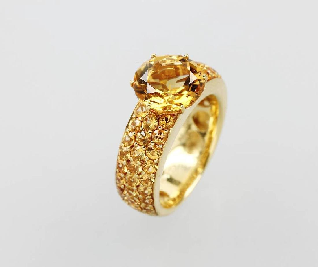 AL CORO 18 kt gold ring with citrine and sapphires