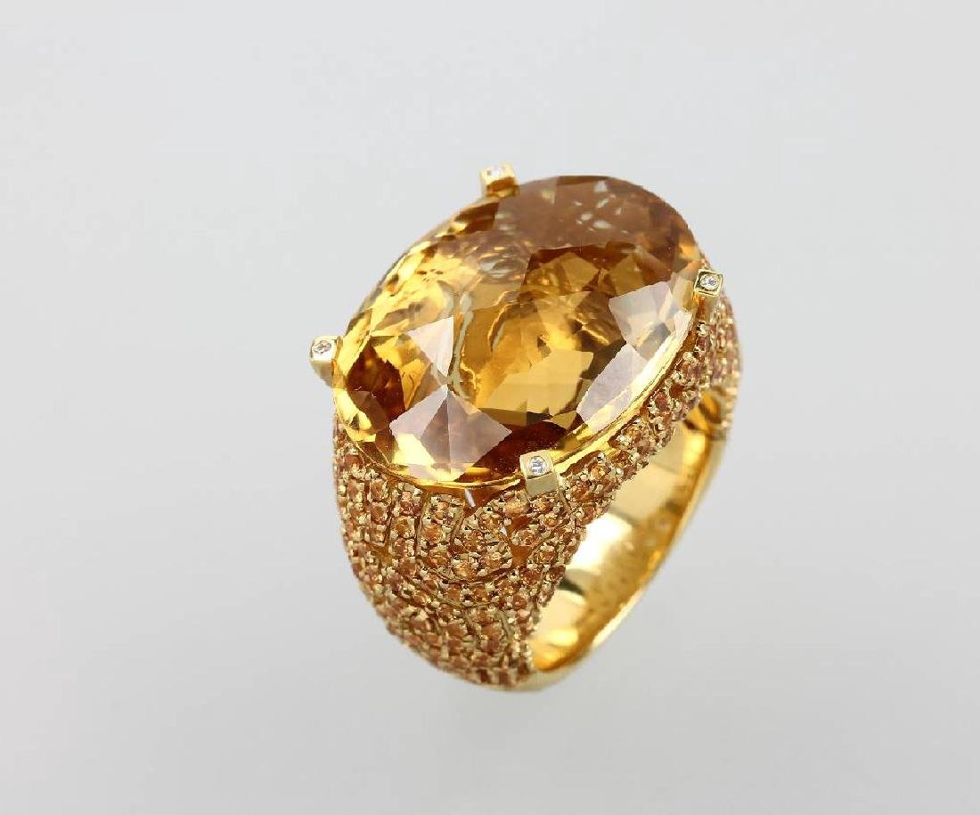 18 kt gold AL CORO ring with citrines and brilliants