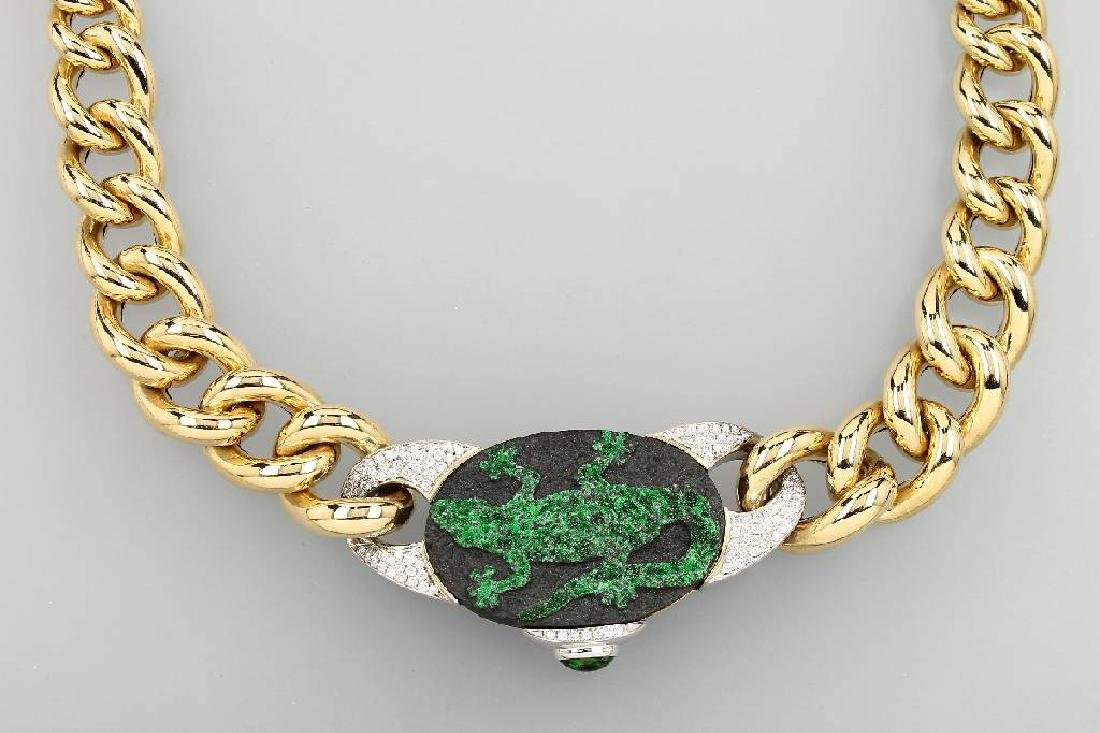 18 kt gold designer necklace with uwarowite, tsavorite