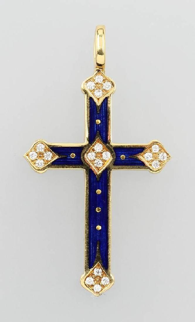 18 kt gold FABERGE crosspendant with enamel and