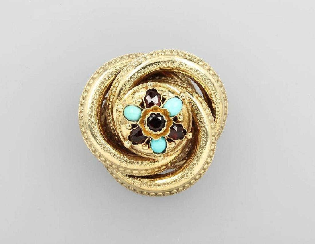 14 kt gold brooch with garnets and turquoises