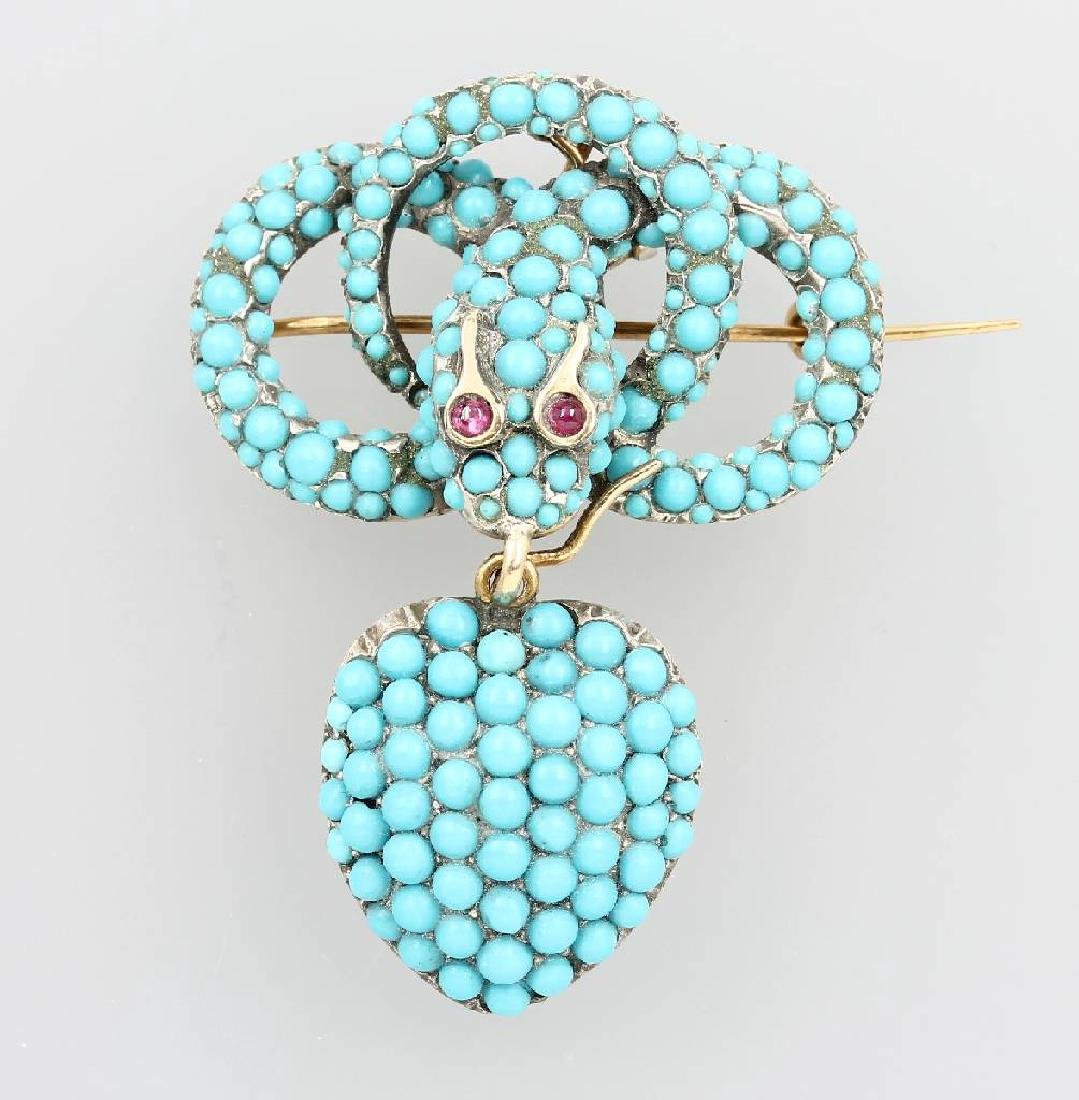 Brooch/Pendant 'snake' with turquoises, approx. 1830s