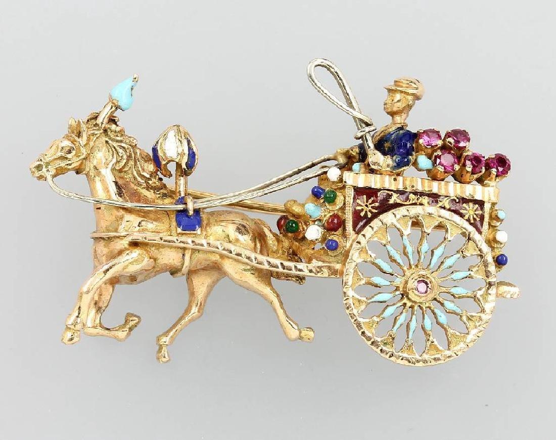 14 kt gold pendant with smoky quartz, Vienna approx.