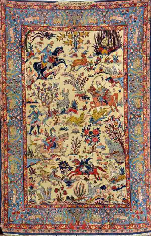 Fine Isfahan 'Dardashti' Hunting-Rug (Signed),