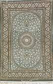 Green Ground Fine 'Part-Silk' Isfahan 'Enteshari' Rug