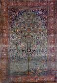 Green Ground Silk Kashan Carpet (Tree Of Life),