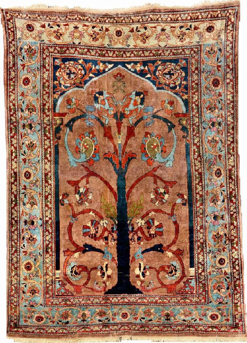 Rare Silk Heriz Rug (Tree Of Life),