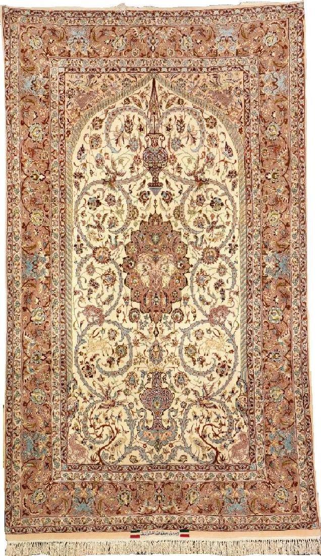 Fine 'Part-Silk' Isfahan 'Nakhshband' Rug (Signed),
