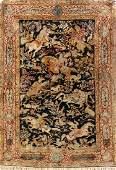 Silk Qum Rug (Hunting Design),