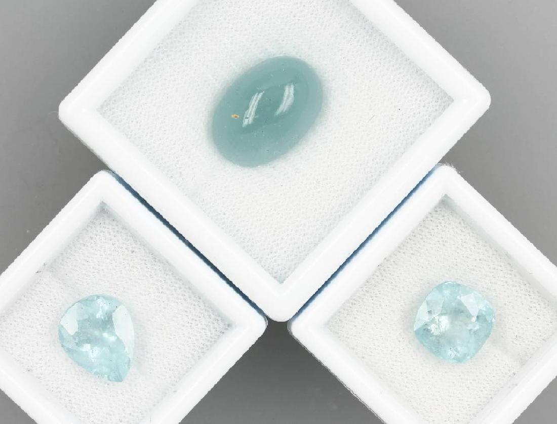 Lot 3 loose aquamarines