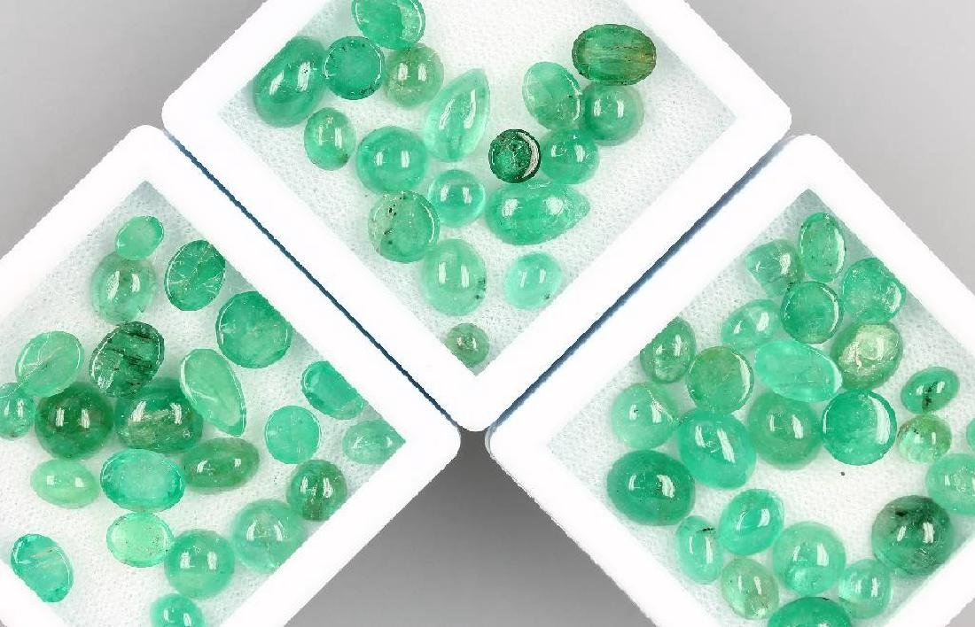 Lot loose emerald cabochons, total approx. 63 ct