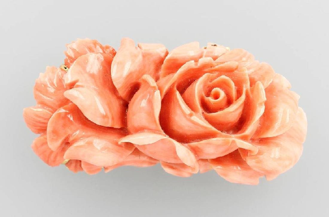 Brooch with cutted coral, 1950s