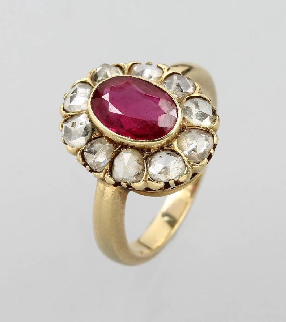 18 kt gold blossom ring with synth. corundum and