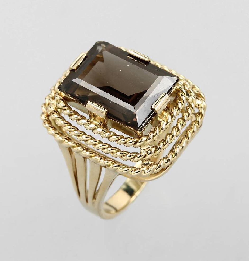 14 kt gold ring with smoky quartz, german approx. 1950s