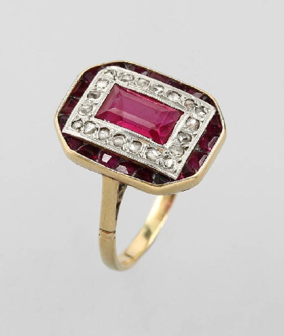 18 kt gold Art-Deco ring with synth. rubies and