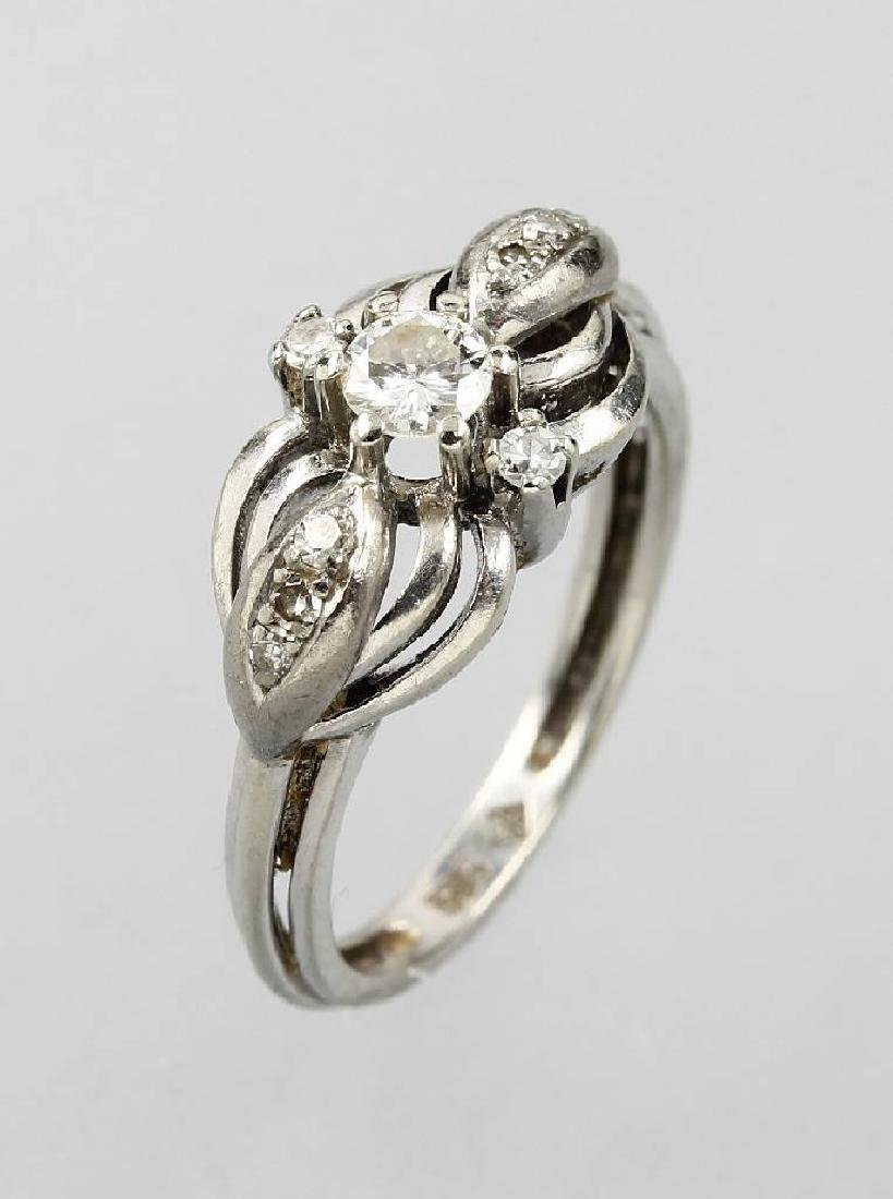 14 kt gold blossom ring with diamonds, approx. 1930s