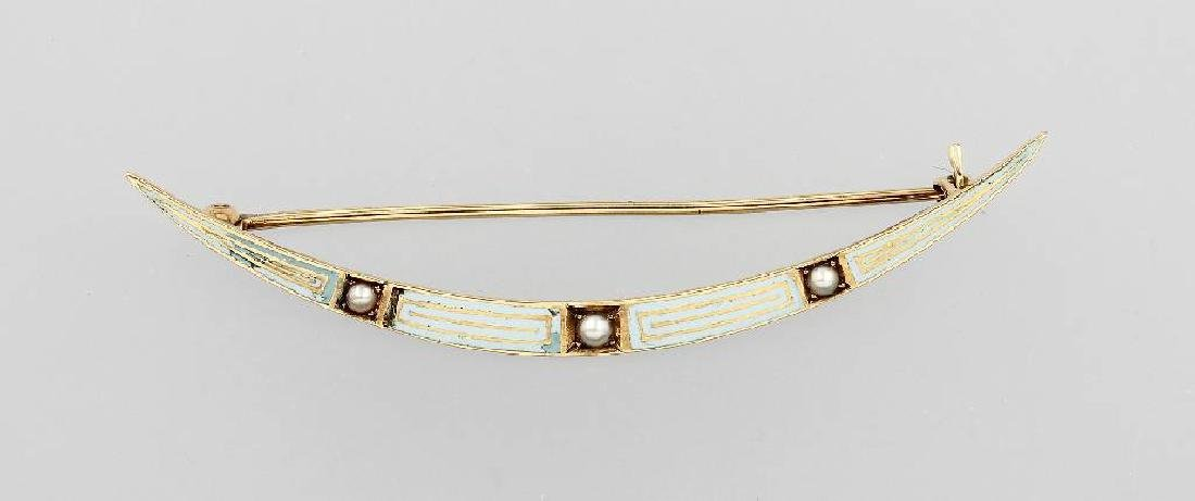 14 kt gold bar brooch, probably England approx. 1900s