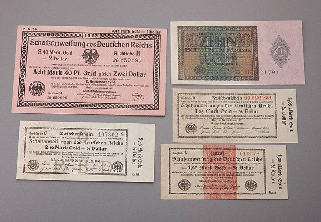 Lot 5 banknotes, German Reich