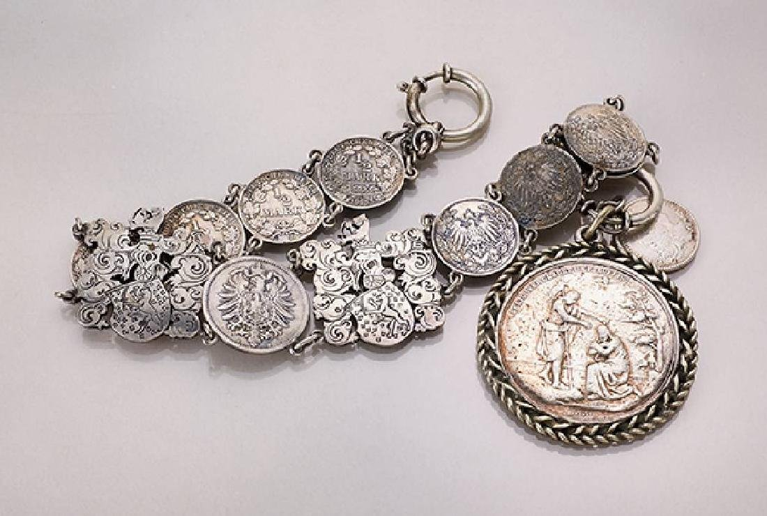 National costume chain with coins and baptism medal,