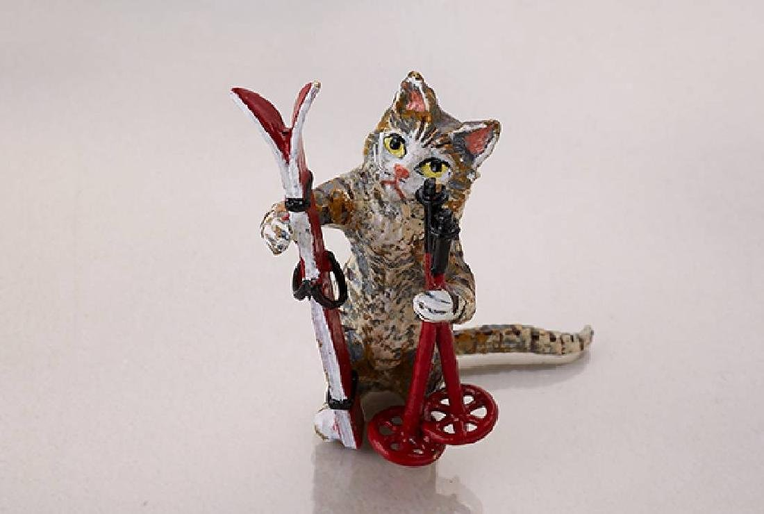 Vienna bronze 'Cat with ski'