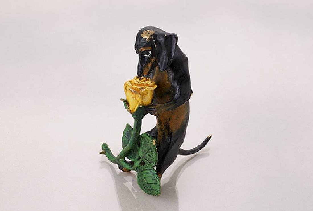 Vienna bronze 'Dachshund with Rose', signed Franz