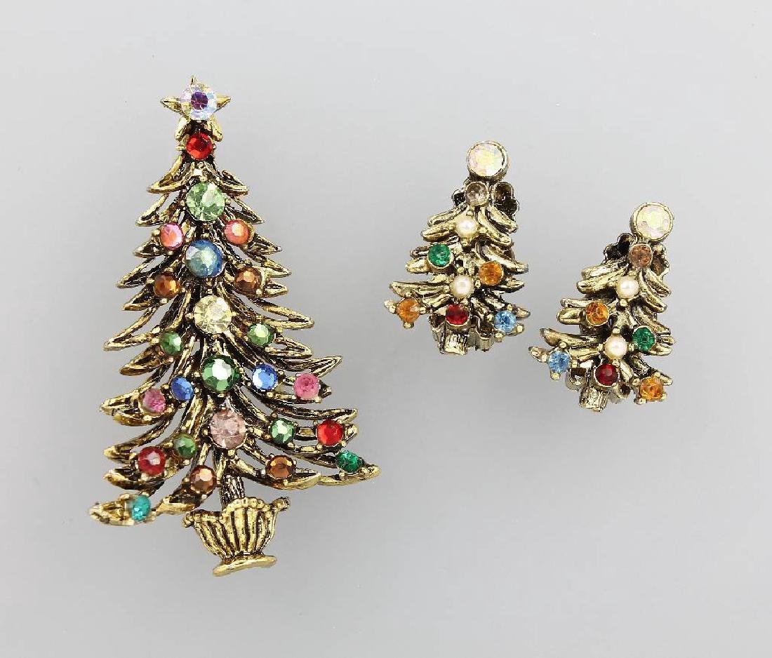Costume jewellery set 'christmas tree', USA approx.