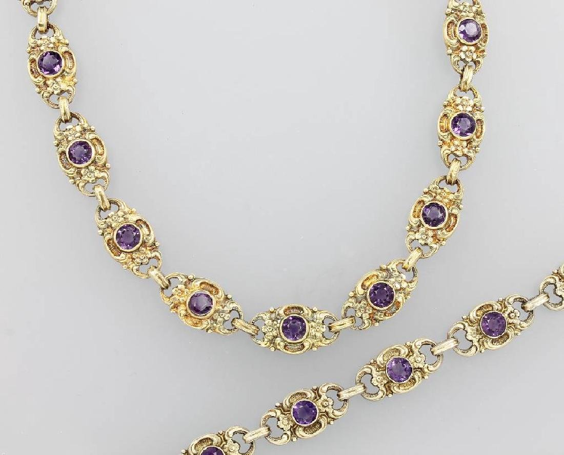 Jewelry set with amethysts, german approx. 1920/30s