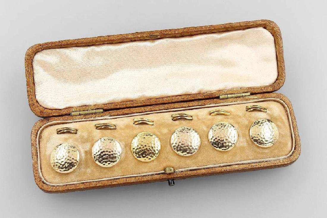 6 9 kt gold tail buttons, England approx. 1900s