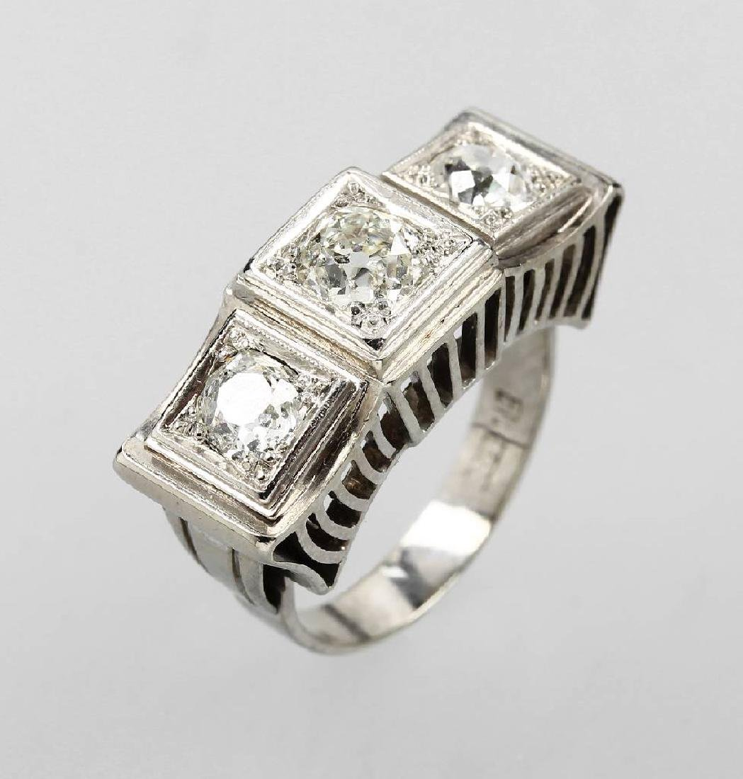 14 kt gold ring with diamonds, approx. 1940s