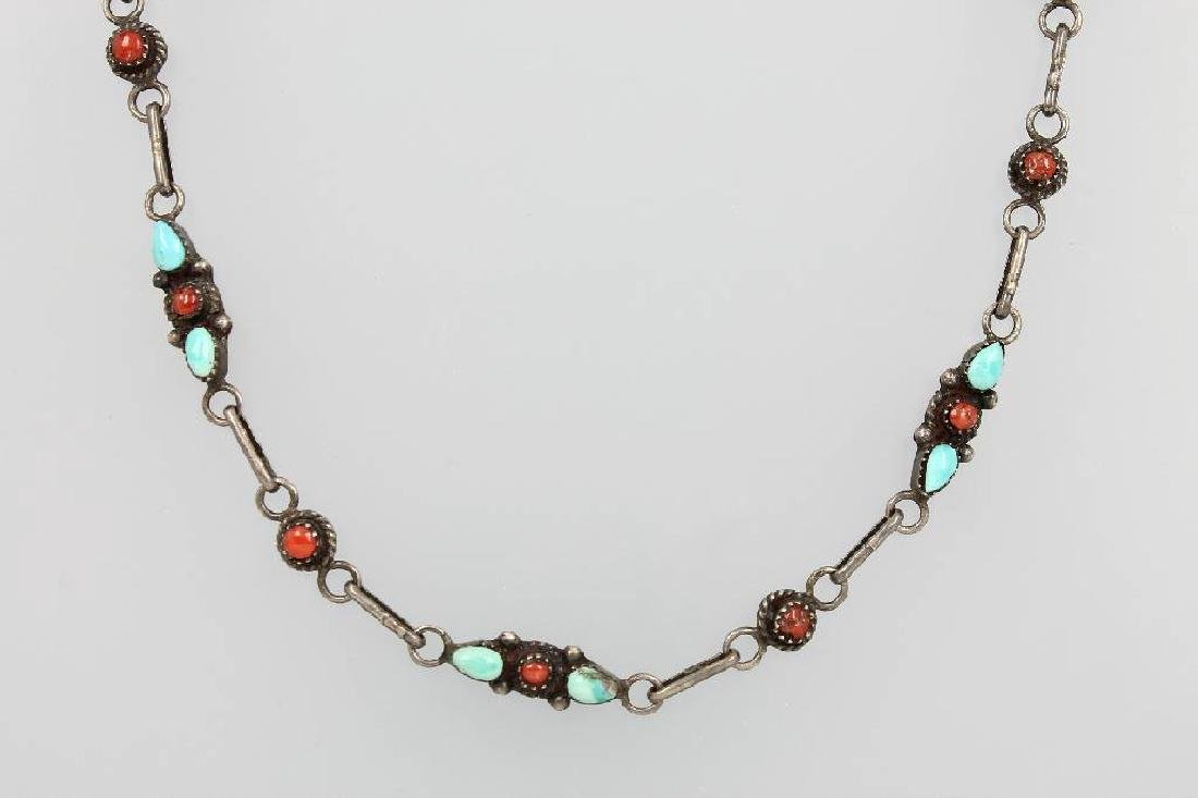 Necklace with turquoises and coral, approx. 1900s