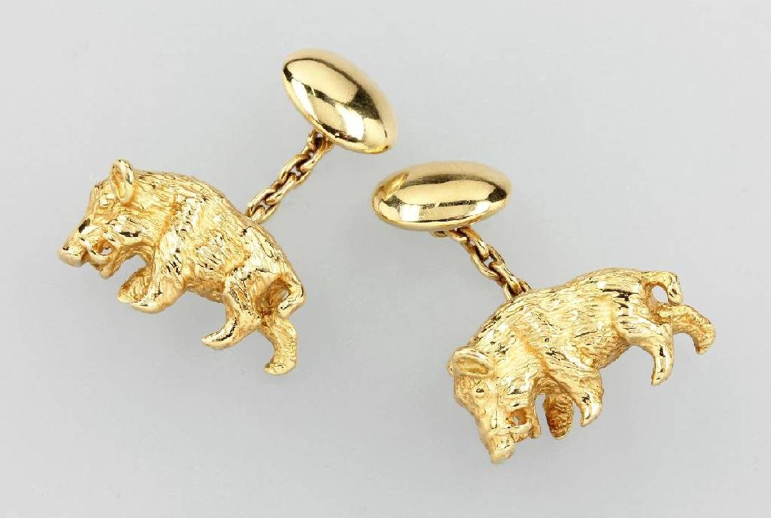 Pair of 18 kt gold cuff links 'boar'