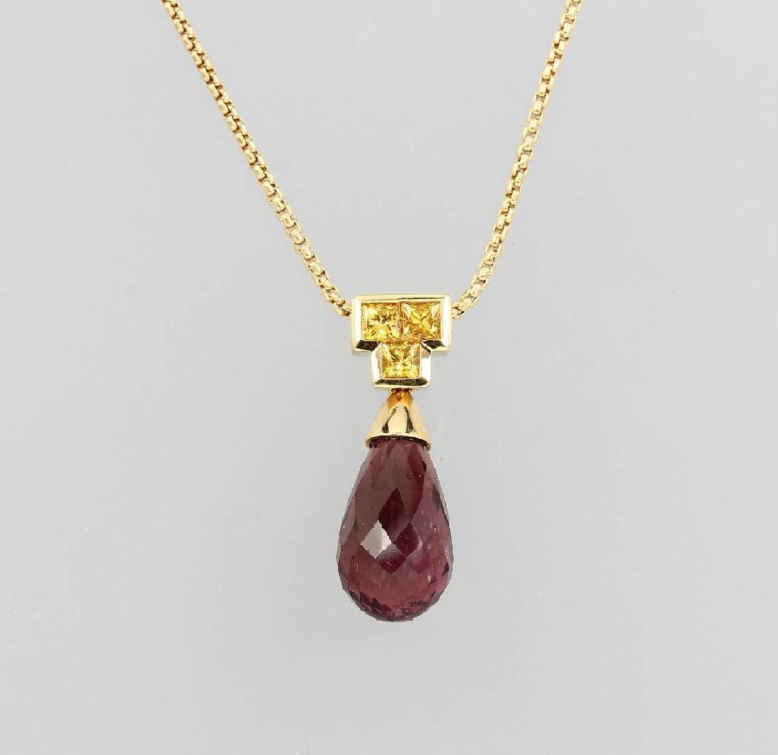 18 kt gold necklace with tourmaline and sapphires