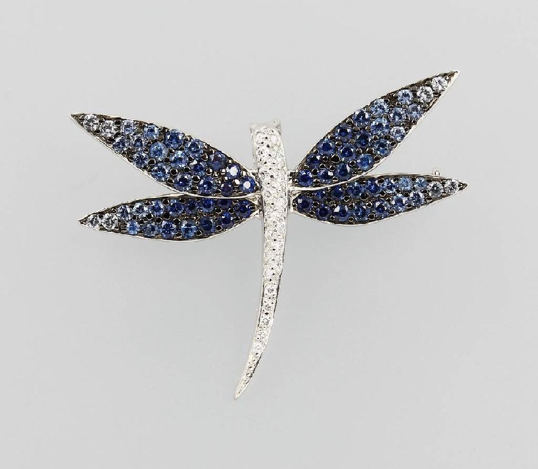 18 kt gold brooch 'dragonfly' with sapphires and