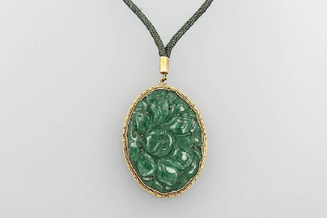 Pendant with jade, silver gilded