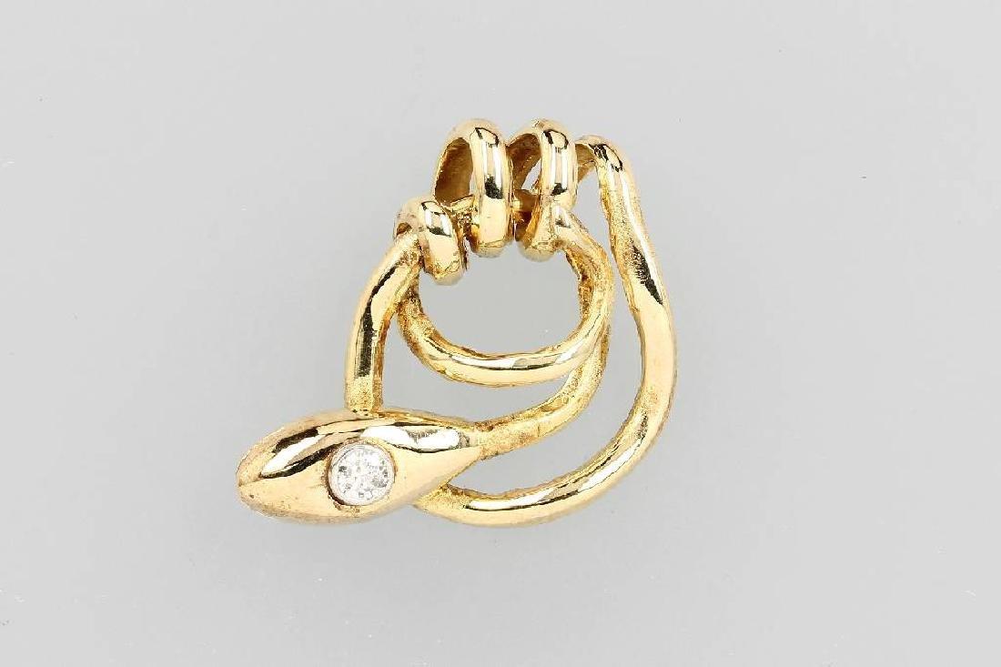 14 kt gold snake pendant with diamond